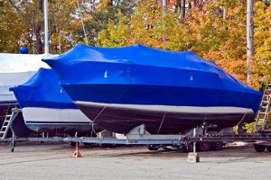 Shrink-wrapped boat