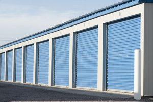 Large commercial storage units with blue doors.